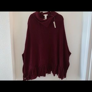 NWT Coldwater Creek knitted sweater poncho red